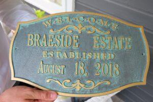 Braeside Estate Inoguration Plaque